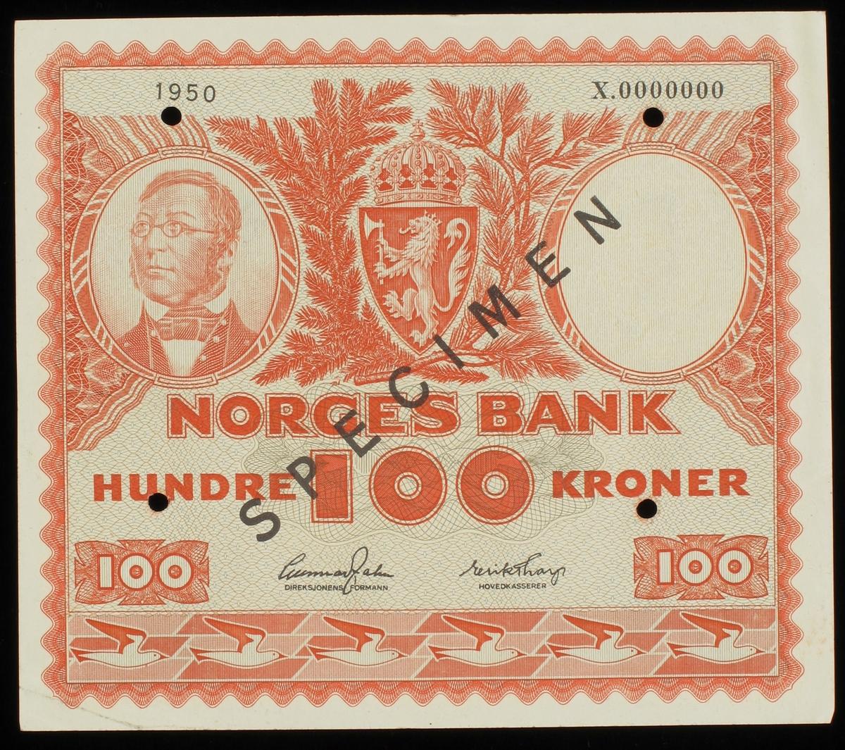 Norsk seddel pålydende kr. 100.