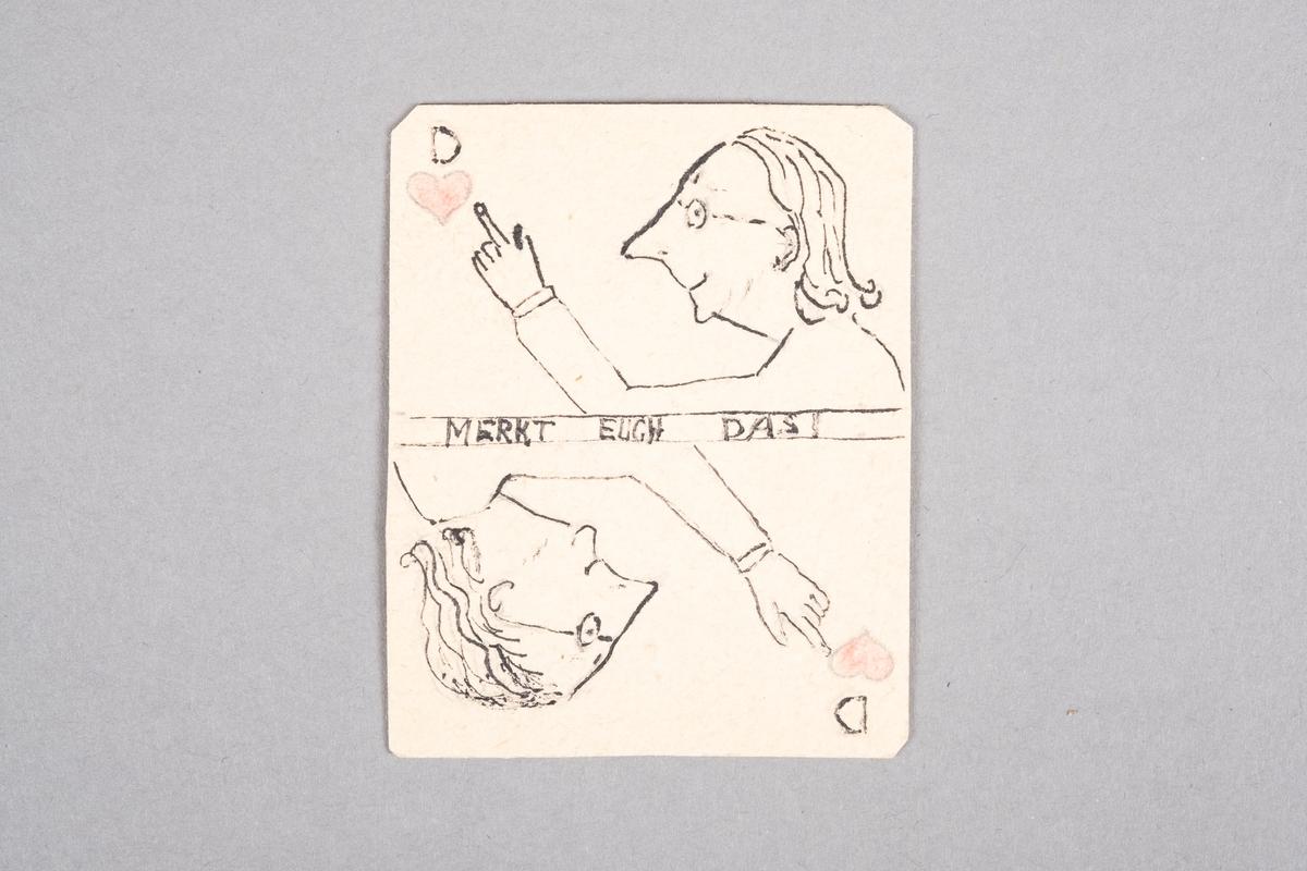 Tegning av en kvinne som peker mot hjertesymbolet. Motivet er speilet.