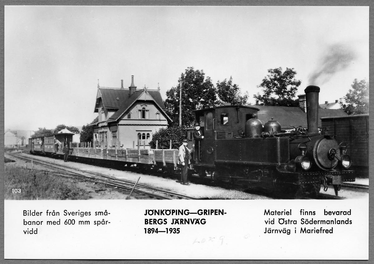 Jönköping-Gripenbergs Järnväg, JGJ lok 9 vid Jönköping Östra station.