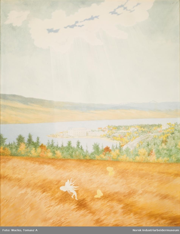 Fem akvareller med motiv fra utbyggingen av kraftverket Svælgfos. «Fossen» (1907), «Grunnarbeide» (1907), «Dammen på Kloumann-sjøen» (1908), «Svælgfos» (1907) og «Markens grøde» (1907).