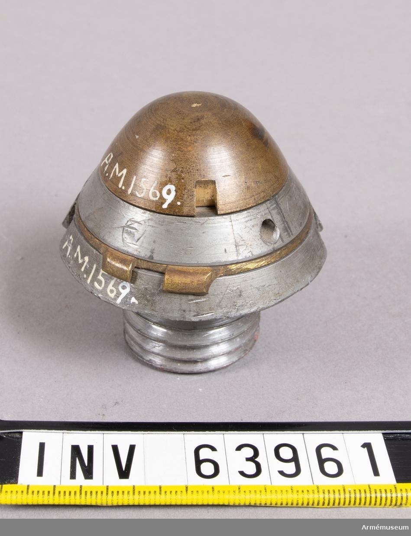 Grupp F II. Tidrör till granatkartescher till 8,7 cm kanon m/1876 av Krupps modell. Försök år 1875-79.