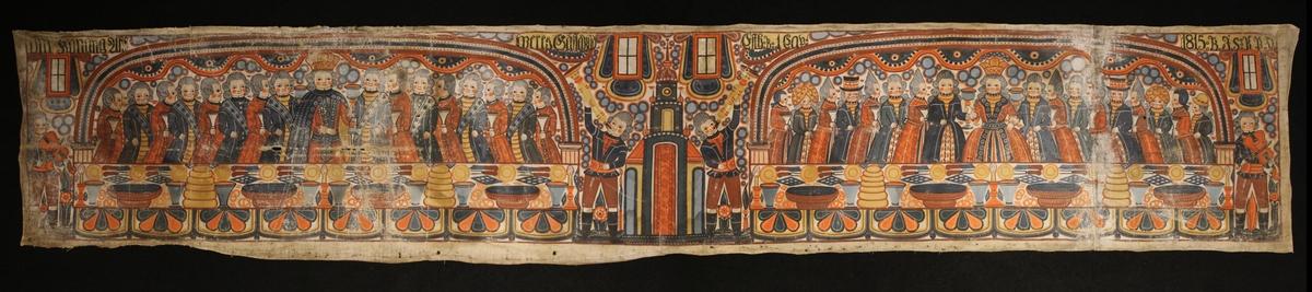 Ahasverus gästabud med kungen till vänster omgiven av manliga gäster och till höger drottning Vastis omgiven av kvinnliga gäster. Framför dem båda ett rikligt dukat bord. I mitten två män som blåser i instrument.