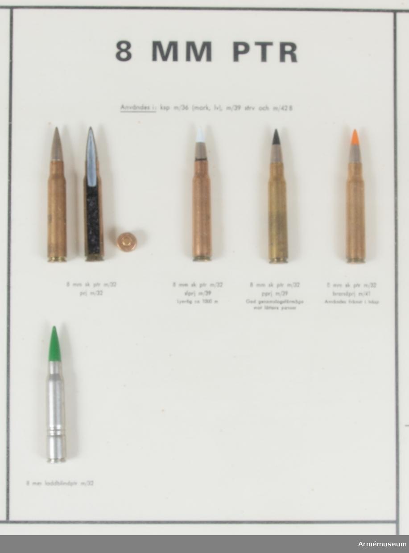 Glasad och ramad monterad finkalibrig ammunition enl följande: 6,5 mm skarp patron m/1894 m projektil m/1894, 3 delar; 6,5 mm skarp patron m/1894 m projektil m/1941, 2 delar; 6,5 mm skarp patron m/1894 m spårljusprojektil m/1939, 1 del; 6,5 mm skarp patron m/1894 m spårljusprojektil m/1941, 1 del; 6,5 mm skarp patron m/1894 m pansarprojektil m/1941, 1 del; 6,5 mm skarp patron m/1894 m övningsprojektil m/1944, 1 del; 6,5 mm skarp patron m/1894 m spårljusprojektil m/1941, 1 del; 6,5 mm skarp patron m/1894 m spårljusprojektil m red. laddn. 2 delar; 6,5 mm skarp kammarpatron m/1912, 1 del; 6,5 mm lös patron m/1914, 1 del; 6,5 mm laddblindpatron m/1919, 1 del;  7,62 mm skarp patron 10 prj,3 delar; 7,62 mm  skarp patron 10 m spårljusprojektil, 1 del; 7,62 mm kammarpatron 10, 1 del; 7,62 mm lös patron 10, 1 del; 7,62 mm laddblindpatron 10, 1 del;  8 mm skarp patron m/1932 m projektil m/1932, 3 delar; 8 mm skarp patron m/1932 m spårljusprojektil m/1939, 1 del; 8 mm skarp patron m/1939 m pansarprojektil m/1939, 1 del; 8 mm skarp patron m/1939 m brandprojektil m/1941, 1 del; 8 mm laddblindpatron m/1932, 1 del;  9 mm skarp patron m/1939, 3 delar; 9 mm skarp patron m/1939 B, 2 delar; 9 mm kammarpatron m/1939, 1 del; 9 mm lös patron m/1939, 1 del; 9 mm laddblindpatron m/1939, 1 del; 9 mm skarp patron m/1907, 1 del; 9 mm laddblindpatron m/1907, 1 del;  22 long rifle normalprojektil, 1 del; 22 long rifle spårljusprojektil, 1 del. Laddram f 6,5 och 7,62 mm patroner, 1 del.  Laddramsbricka f 9 mm patron m/1939 B, 1 del. Kulspruteband 58, 1 del. Normalband, 1 st m/1941, (med fem patroner), 6 delar.