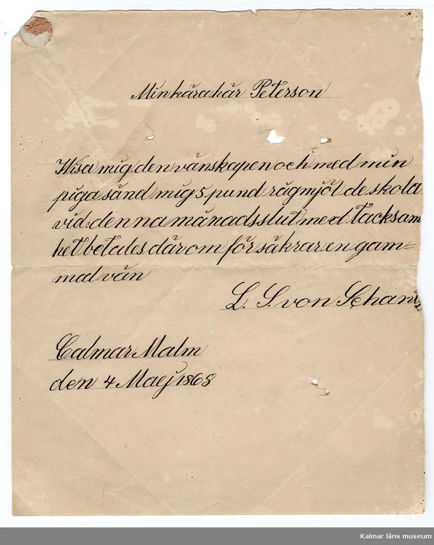 KLM 46339:28. Arkivhandling, brev. Handskriven text på beige papper, en sida. Beställning av varor.