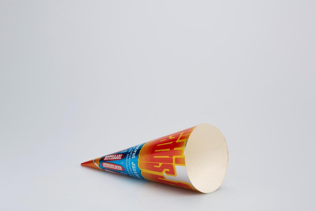 Kjegleformet iskrempapir (kremmerhus) i aluminium. Kremmerhuset er med farger på utsiden, og matt uten farge (hvit) på innsiden. Kremmerhuset har blå og sølv bakgrunn. Det er dekorert med stor farget skrift på øvre del og med mindre skrift i nedre del.