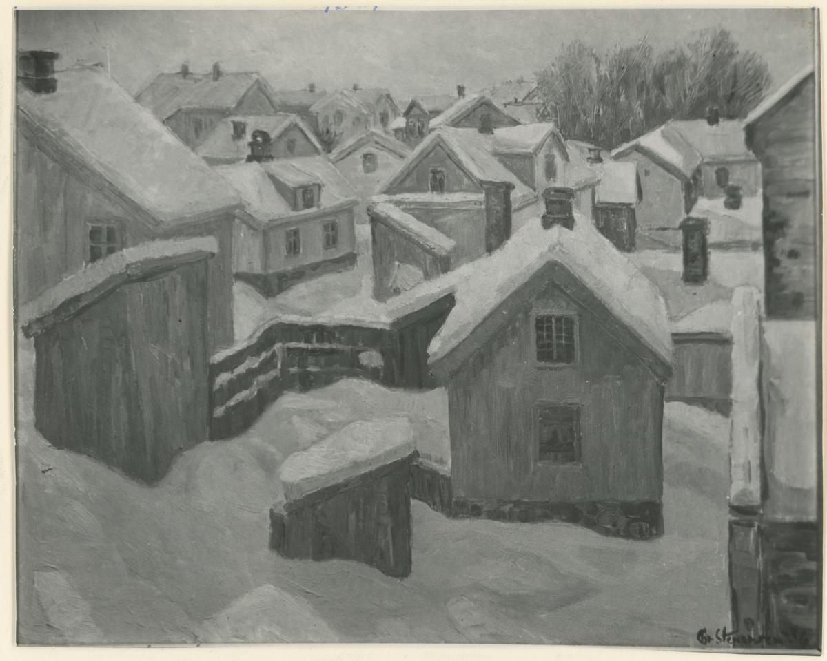 """Fotografi av Maleri. """"Berja"""". Ca. 1960. Vintermotiv. Historikk: Stenersen var en svært aktiv maler og tegner og har foreviget store deler av gamle Moss. Tekst: """"Chr. Stenersen"""""""