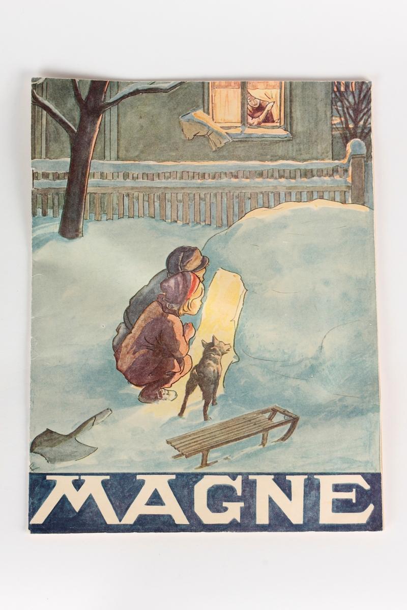 To barn og en hund som kikker inn i en snøhule