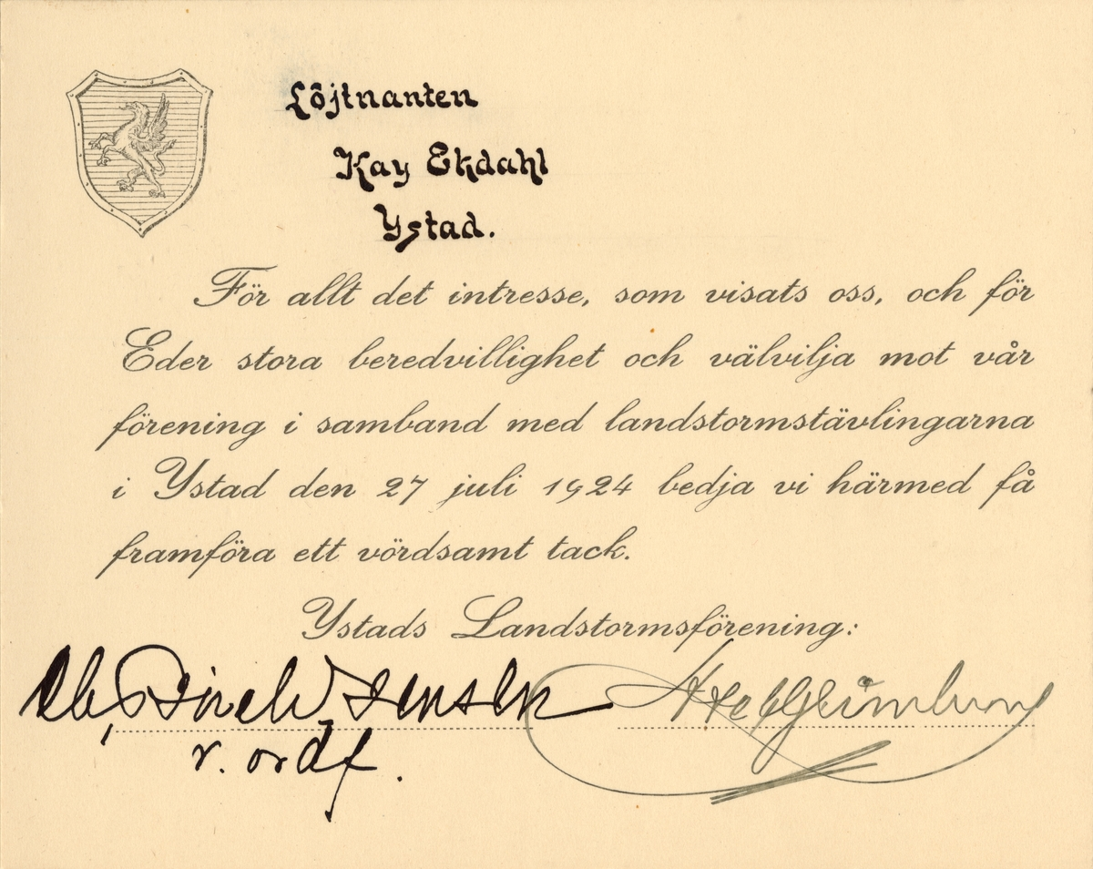 """Text i fotoalbum: """"Landstormstävlingarna i Ystad 27. juli 1924""""."""