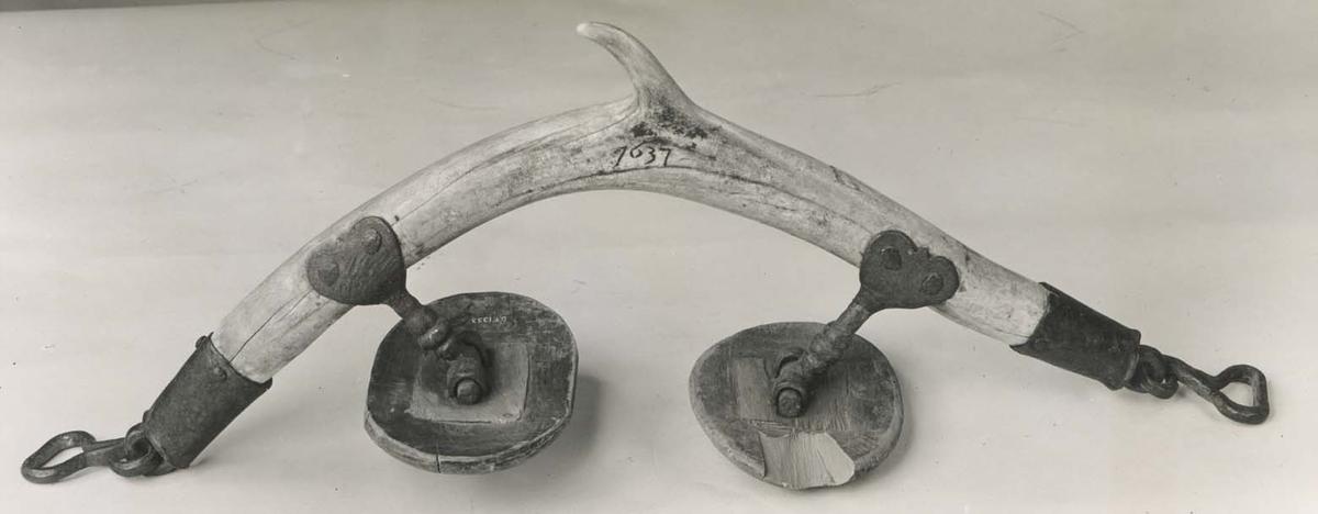 """Selkrok, horn. Typisk hornkrok med tagg.  Fasta ståndare av järn och ledande klackar. Ändarna skodda med doppskoliknande beslag av järn med öglor upptagande byglar av järn för upphållsremmarna. Ingen ornamentik. Årtal """"1637"""". (Klackarna  ej ursprungliga)."""