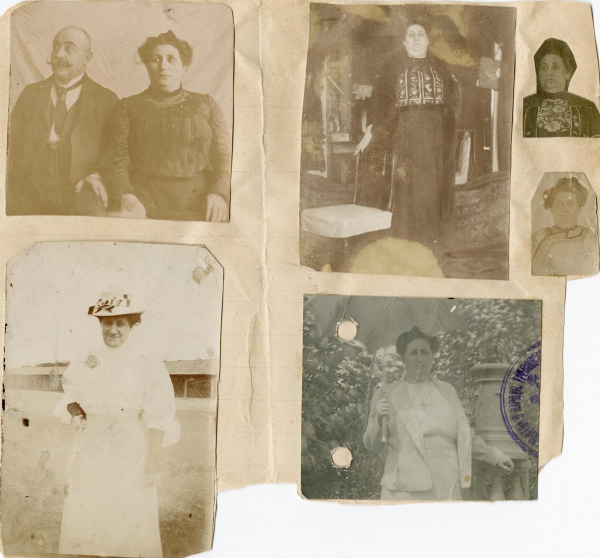 Famileportretter klippet ut av Florentine Rostins fotoalbum, tosidig. Portretter av Michail og Sophia, (Sonja) Rostin (øverst til venstre), samt fem portretter av Sophia Rostin.