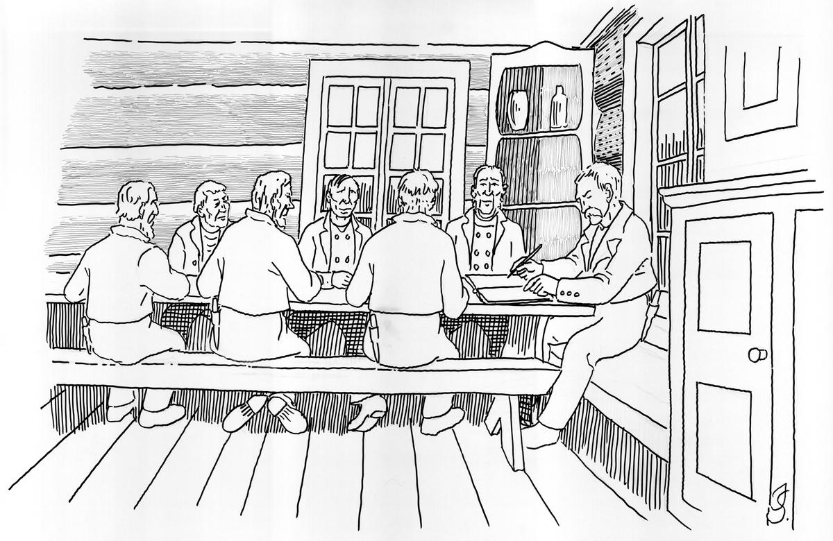 """Illustrasjon av """"Steintinget"""" som vart halde 13-dag jol kvart år av eigerane i steinberget."""