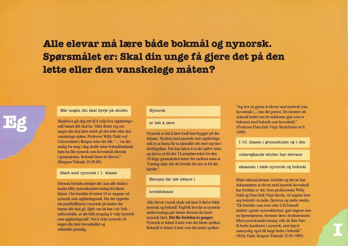 Informasjonsbrosjyre frå Noregs Mållag om nynorsk i skulen. Brosjyra hevdar at ein unge som går i nynorskklasse på skulen vil (1) få det lettare i norskundervisninga, (2) oppnå høgare gjennomsnittskarakter i sidemål, (3) ha større sjanse til å kome inn på ønskja line på vidaregåande skule, (4) stå sterkare i konkurranse om jobb. Brosjyra er i A4-format.