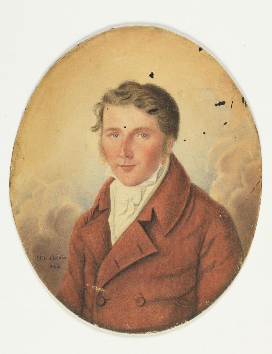 Mannsportrett: Brystbilde av ukjent mann i rød frakk, hvitt bryst.