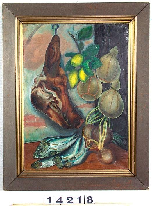 Stilleben med svinhuvud, fisk m.m. [Oljemålning]