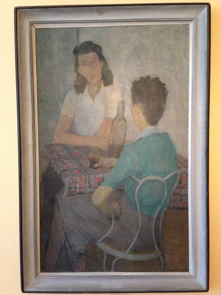 """Målning, olja """"Konversation"""" sign. Birgit Forsell 1942."""