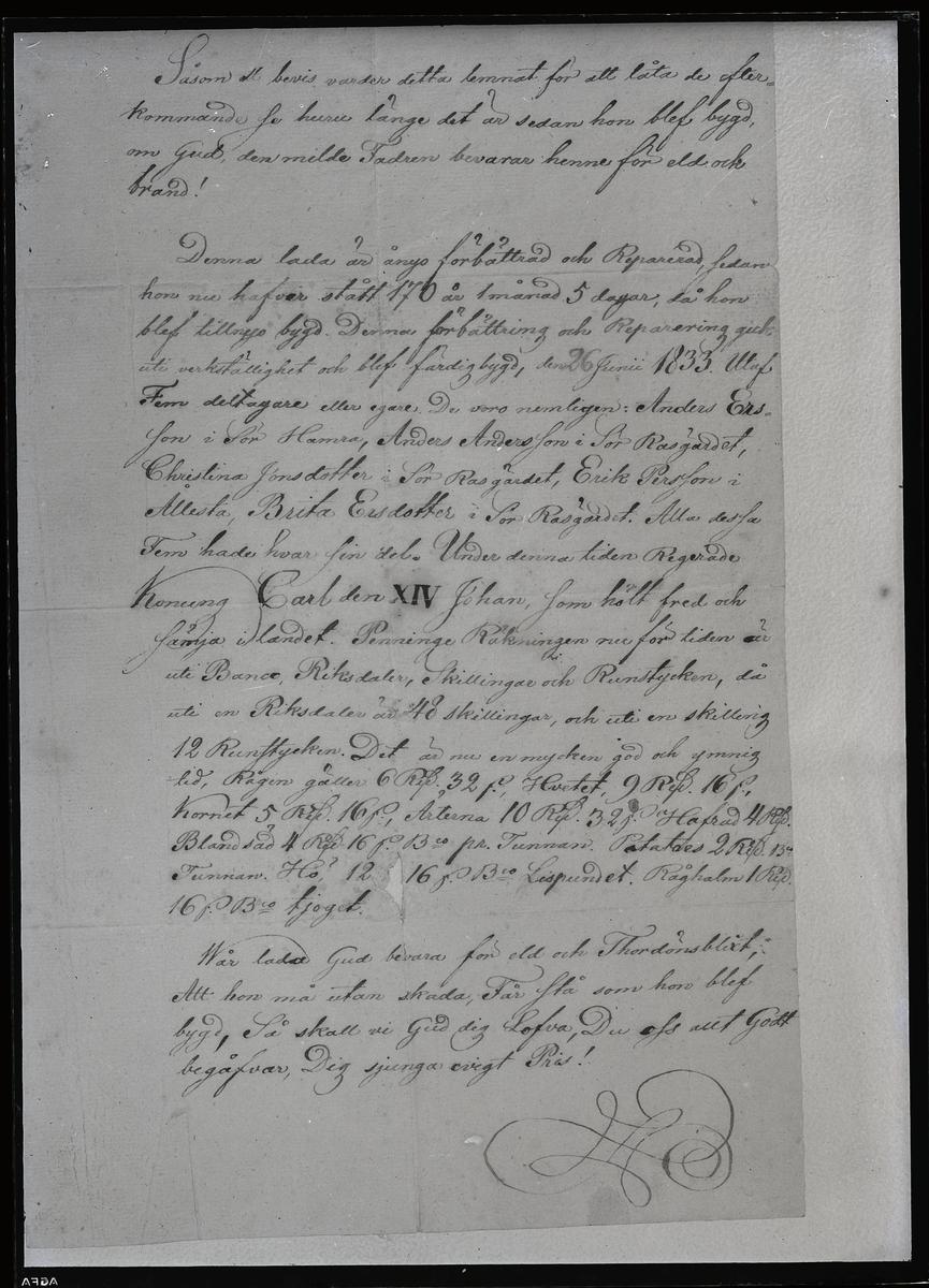 Kroppåsbrev daterat 1833. Sör Rasgärde, Munktorp sn.