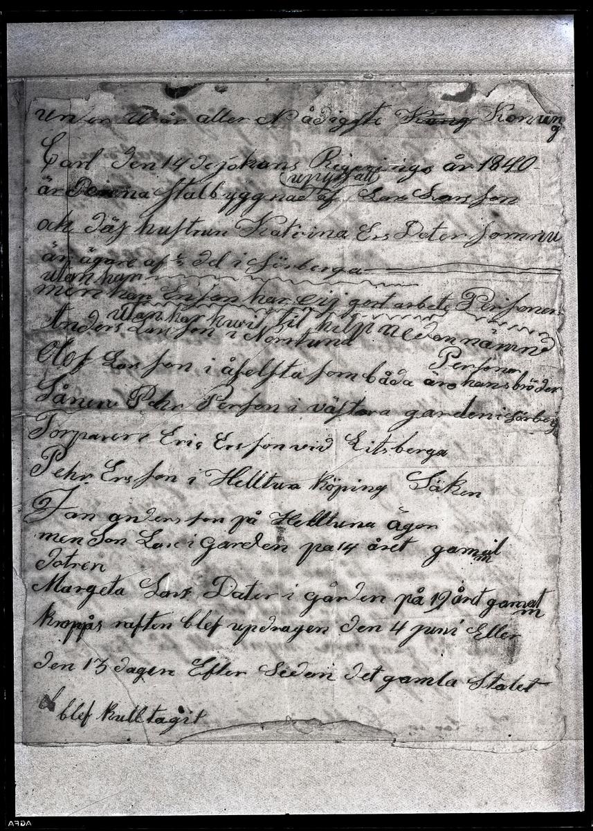 Kroppåsbrev daterat 1840. Sörberga, Munktorp sn.