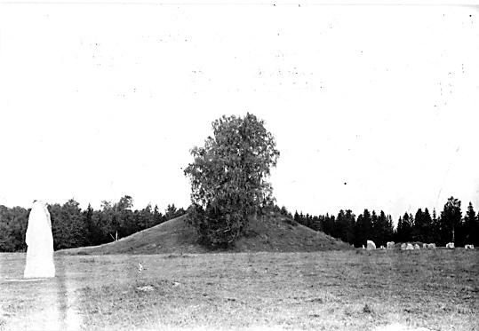 Runsten, gravhög och skeppssättning I, sedd från sydsydost, Anundshög i Långby, Västerås.