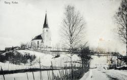 Vang kirke, vinter, postkort.