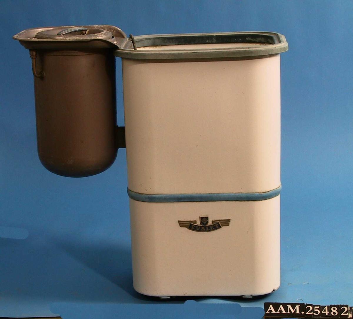 Vaskemaskin med rektangulær, avrundet, form,  påhengt rund presstørrer.