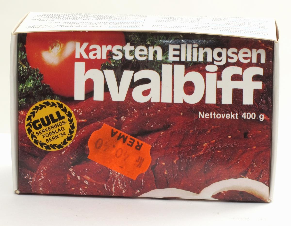På forsiden hvalbiff med tomat og persille. På baksiden midre bilde med stekt hvalbiff med sjampinjong m.m.