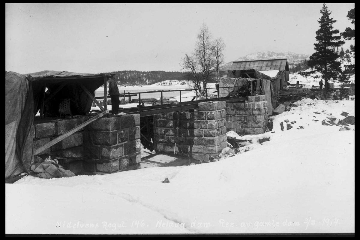 Arendal Fossekompani i begynnelsen av 1900-tallet CD merket 0474, Bilde: 90 Sted: Nelaug Beskrivelse: Damanlegget