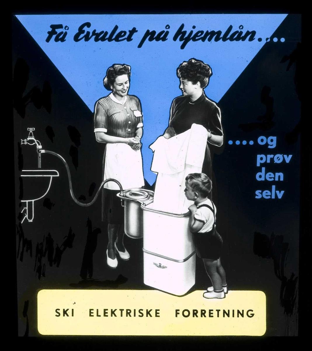 Kinoreklame fra Ski for vaskemaskin. Få Evalet på hjemlån og prøv den selv. Ski elektriske forretning.