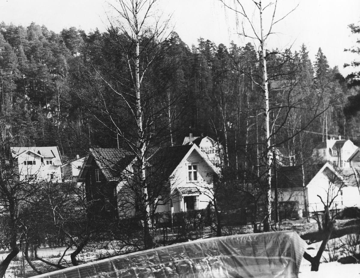 Boliger. Bildet er tatt mot Kapellveien og Holteveien.