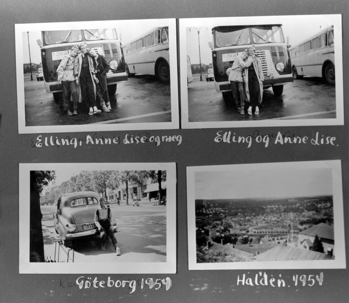 Fire bilder fra en busstur til Halden og Gøteborg i 1954
