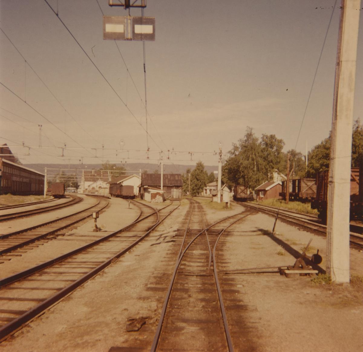 Omlastingsområdet på Sørumsand stasjon med diverse normalsporet og smalsporet godsvognmateriell.