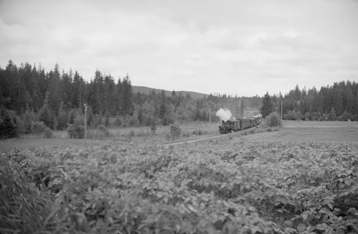Tog retning Skulerud nord for Skulerud stasjon.