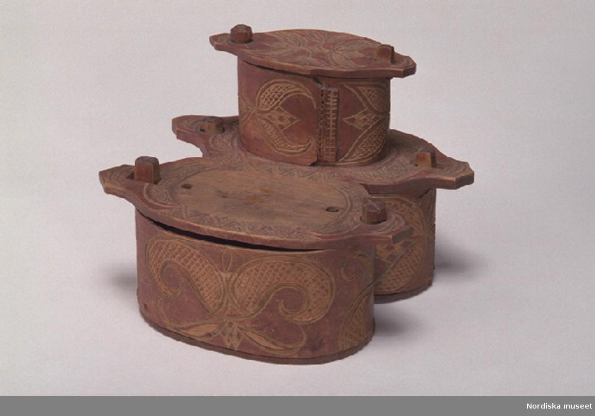 """Inventering Sesam 1997-1998: L 22, B 18,5, H 17 cm Nipperask, dubbel svepäska, två plan. Ursprungligen med fyra fack, nu saknas en liten äska som antagligen suttit på locket till den större. Botten av barrträ, lock och svep av lövträ, med fals. Svepen fästade med snett islagna dymlingar av trä. Hopfästning av de större svepen med rottågor, släta stygn, två rader, även ihopsydda med varandra. Det mindre svepet hopfäst med rottågor, kedjesöm, en rad. Utskurna ståndare av lövträ, en fjädrande och överkragande på varje, osymmetriskt ridande på svepkanterna, trösklar nedtill vid botten. Den mindre äskans ståndare borrade i lockskivan på den större. Vridbara knäpplock. Svep, lock och ståndarknoppar målade i rödbrunt, med skuren dekor som framträder ljus, liknande Selbuornamentik. Gröna färgrester i utskärningarna på en del ställen. På bottens undersida ett par inskurna märken samt bläckskrift: """" M. C. Wikström (Säther 1830, enligt huvudliggaren) till Eskelina Wikström Slandrom 1861 """".  Agnetha Blomberg 1997"""