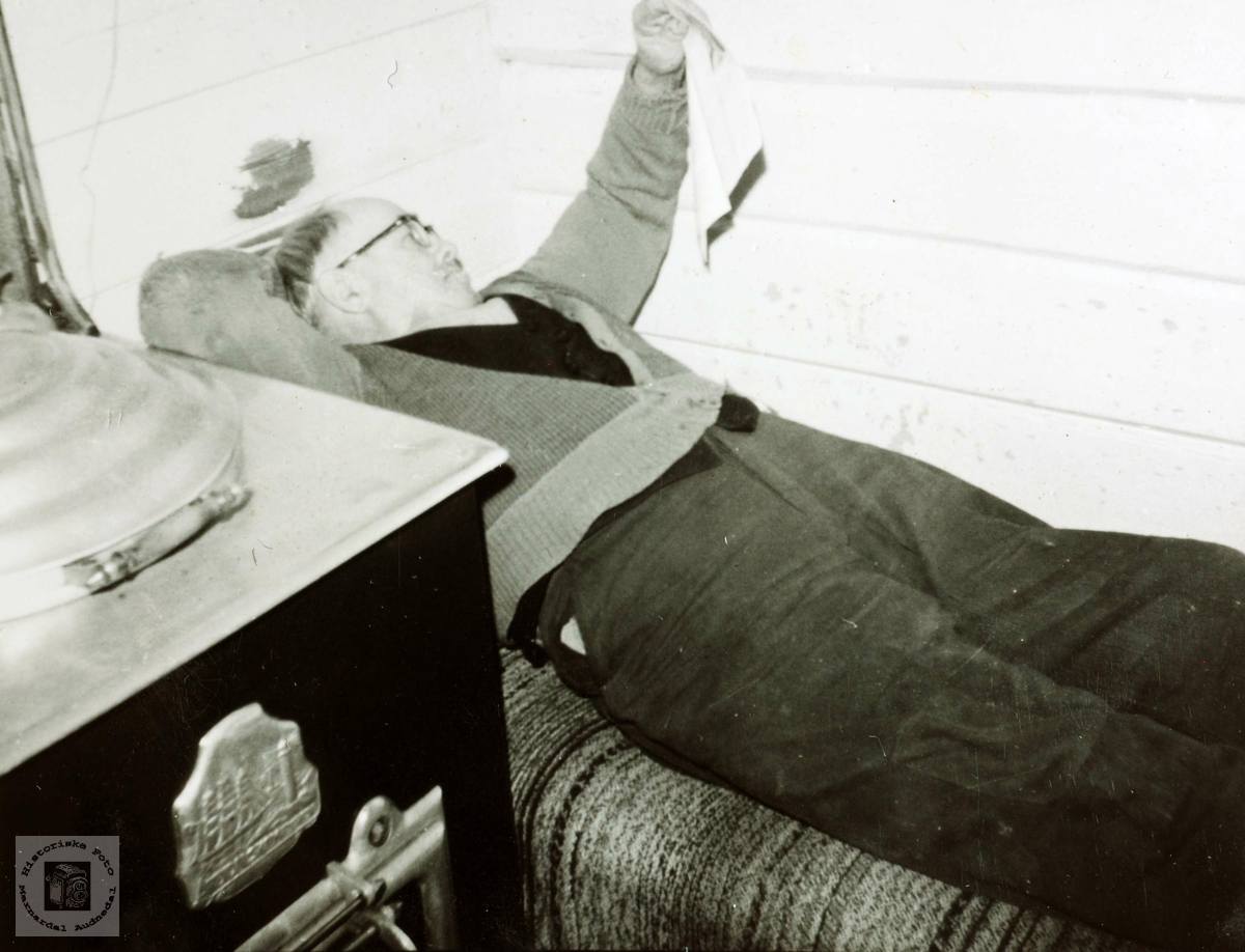 Bestefar les avisen på divanen. Grindheim Audnedal.
