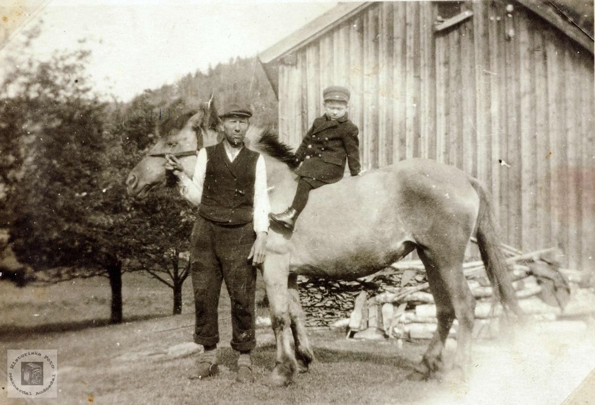 Gutt på hesteryggen på Iveland. Konsmo Audnedal.