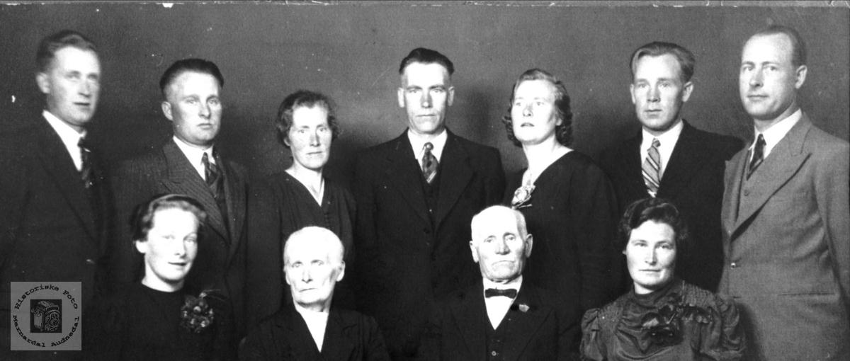 Portrett av Daniel Mjåland-slekta, Laudal.