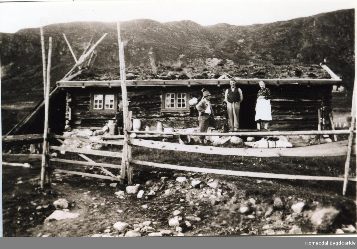 Gamlebua på Ershovd i Hemsedal som framleis er Kirkebøens eige. Frå venstre: Karl Høgberg (noko usikkert); Ola T. Kirkebøen og Margit Kirkebøen.