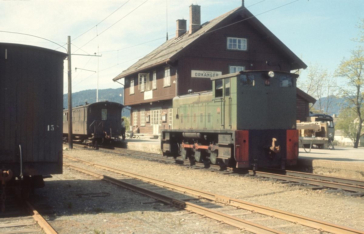 Diesellokomotiv nr. 9 på Orkanger Stasjon.