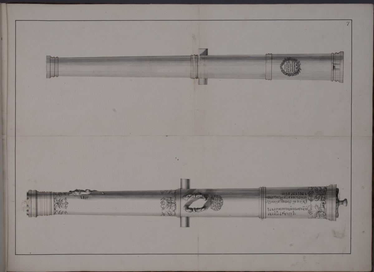 Avbildning föreställande eldrör tagna som troféer av den svenska armén i slaget vid Narva den 20 november 1700. Ingår i volym med avbildade kanontroféer tagna åren 1700-1702.