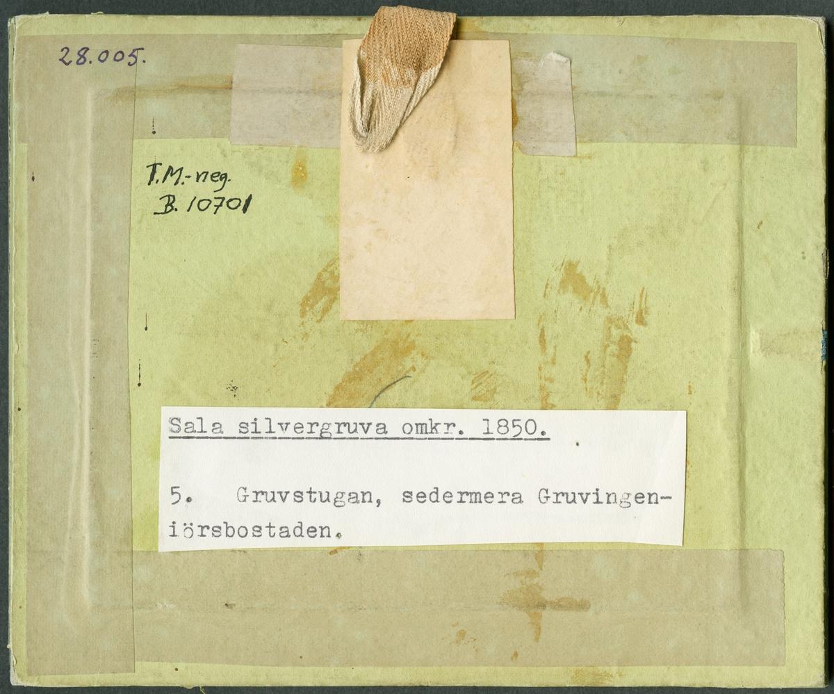 Baksidan av daguerreotyp. Gruvstugan, sedermera Gruvingenjörsbostaden vid Sala Silvergruva.