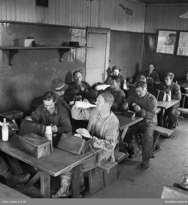 Lunchpaus för gruvarbetare