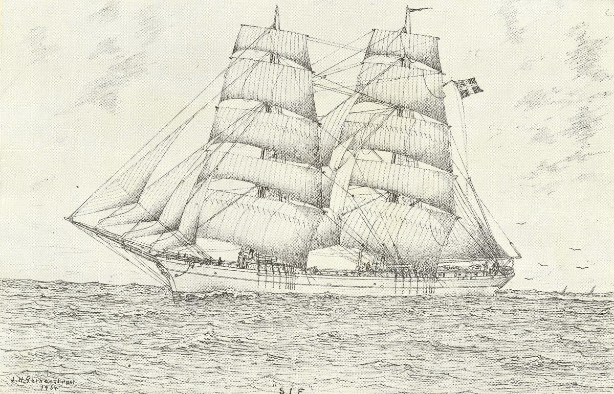 """Sif Brigg, 380 bruttoton. Byggd i Italien 1878 (""""Atalanta""""). Sedermera under fransk flagg (""""Hector""""). Åter till Italien 1895 (""""Lazzaro-Anna""""). Inköpt till Sverige 1900 av Fredr. Ohlsson, Timmernabben, och döpt till Sif. Befälhavare: F. Österström, J.A. Andersson, N.G. Ohlsson, K.A. Hällqvist. Påseglad och sänkt 1911 på Nordsjön.  Teckning av J.H. Götherström. Se """"Vår gamla segelflotta"""", VII, Oskarshamns Tidning 10/8 1934."""