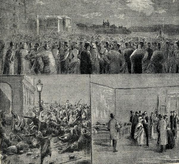 Männen på bilderna bär rock och kavaj samt hatt och kvinnorna klänning.