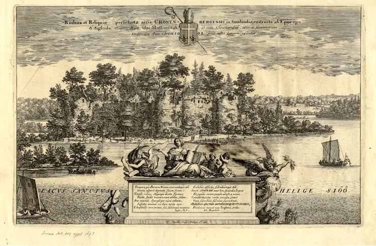 Kopparstick visande Kronobergs slottsruin. Blad ur Suecia Antiqua et Hodierna.