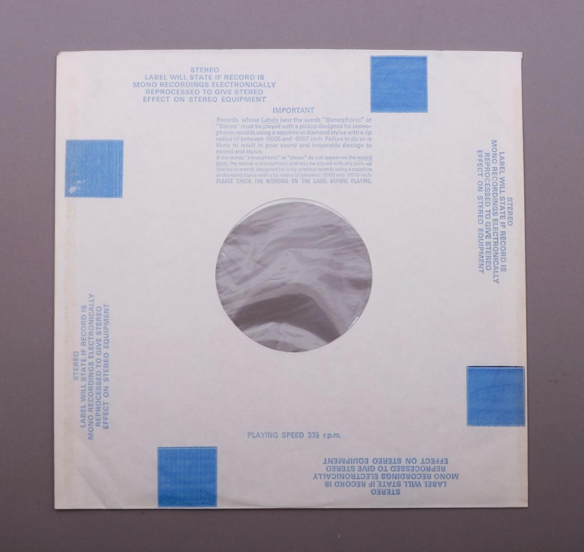 Grammofonplate i svart vinyl og plateomslag i papp med beskyttelsesplast fortsatt på. Plata ligger i en plast- og papirlomme.