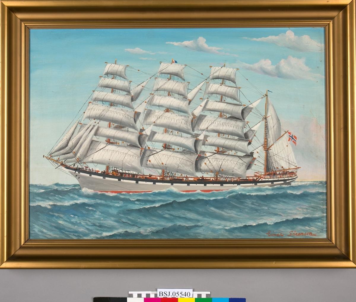 Skipsportrett av ukjent fullrigger med full seilføring. Lite detaljer. Norsk flagg i akter.