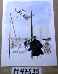 Hugo hoppar högt [Akvarellmålning]