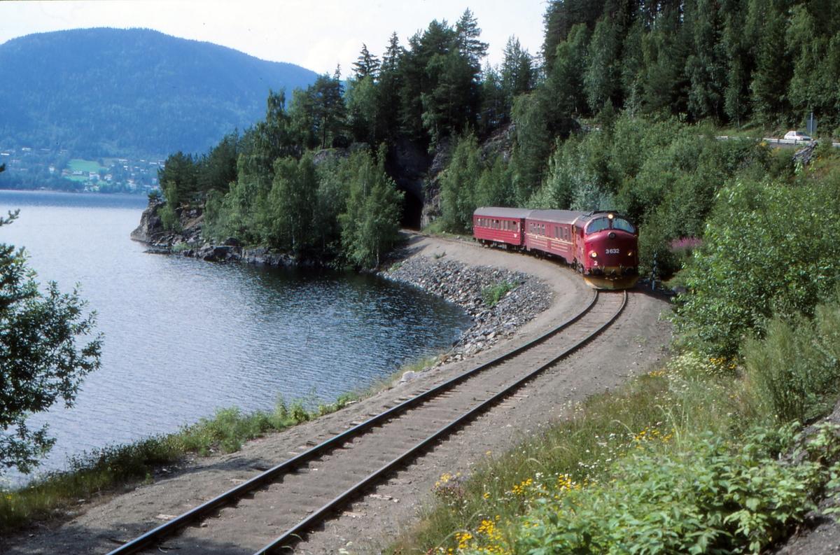 Persontog til Oslo S med NSB dieselelktrisk lokomotiv Di 3 mellom Fagernes og Leira.