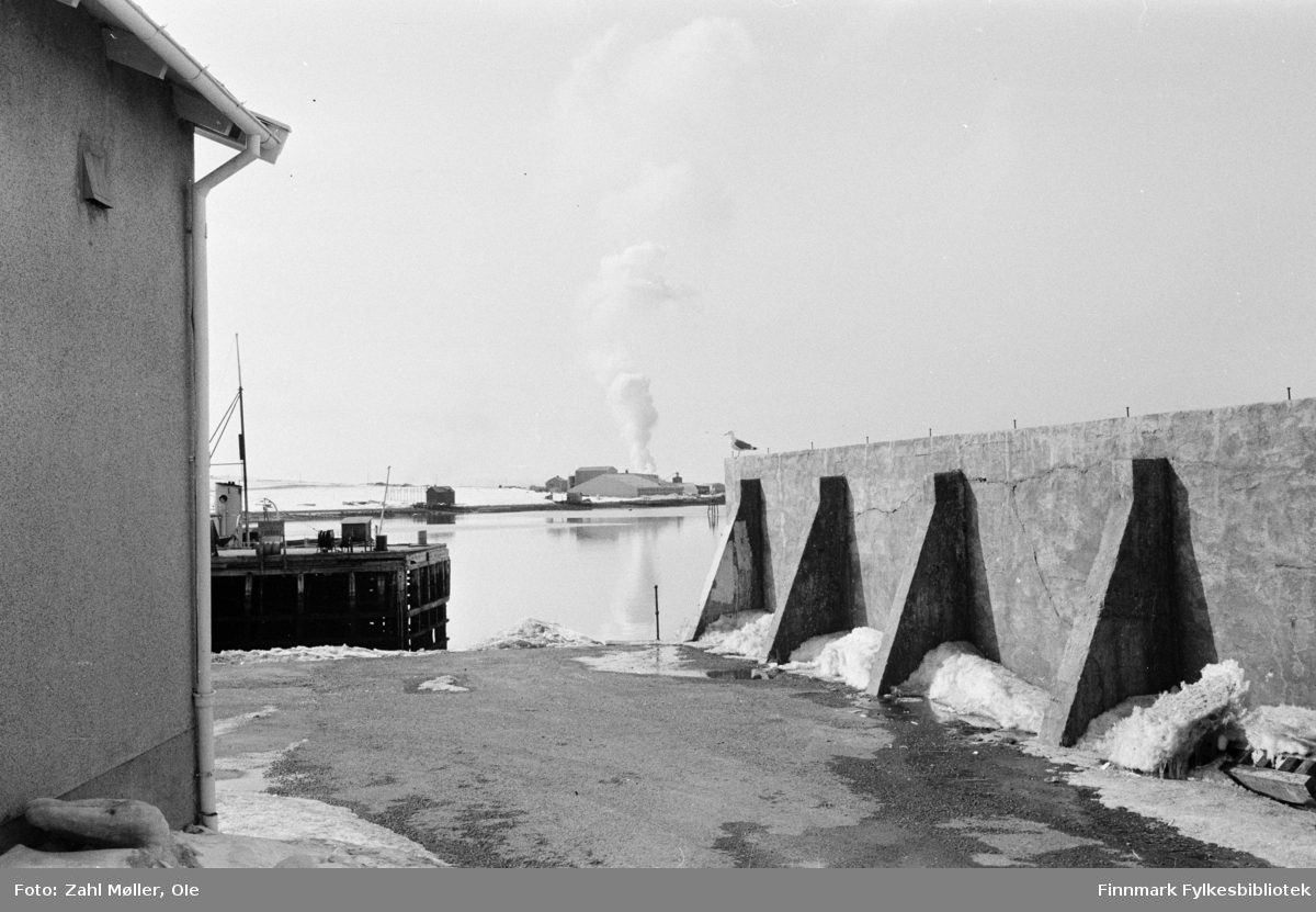 Fotoserie fra Vadsø, April 1968 fotografert av Vadsøfotografen Ole Zahl-Mölö. Vadsøs bebyggelse. Utsikt mot Vadsøya med Sildoljefabrikken.
