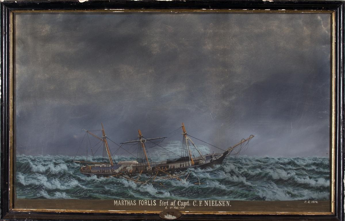 Skipsportrett av bark MARTHA. Viser mannskapet i ferd med å kappe løs stenger og rær som er gått overbord i den Bengalske bukt hvor skipet ble forlatt 4 dager senere i mai 1874. Besetningen ble opptatt av en fransk bark.