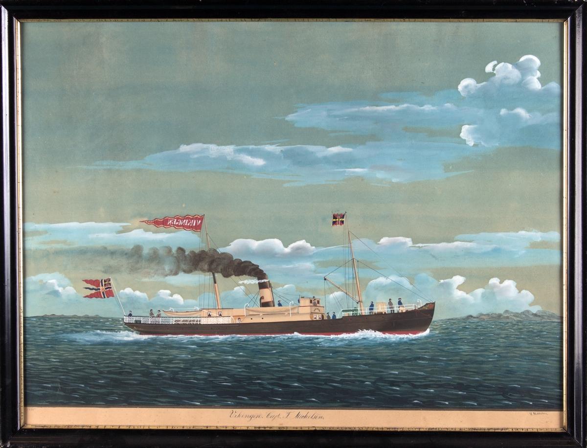 Skipsportrett av DS VIKINGEN under fart. Fører unionsflagg akter og vimpel med skipets navn i masten.